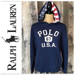 Polo Ralph Lauren USA Blue American Flag Hoodie